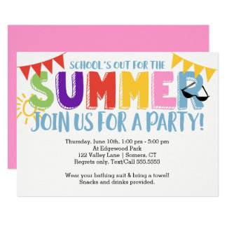 Summer Party, School's Out Bright Colors Card