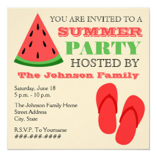 Summer Party Watermelon & Flip Flops Invitation