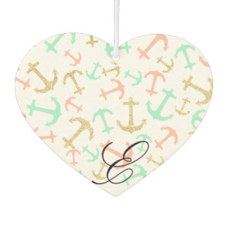 Summer pastel pink mint gold nautical anchors car air freshener