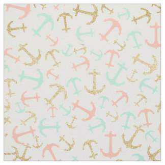 Summer pastel pink mint gold nautical anchors fabric