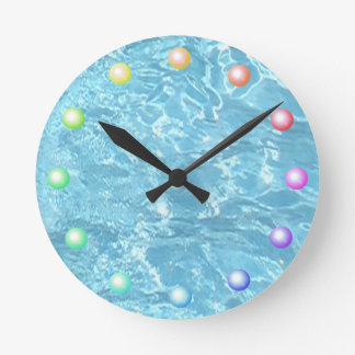 Summer Patio Pool Blue Water Sparkling Sunlight Round Clock
