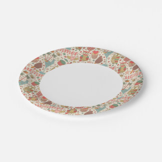 Summer Pattern With Ice Cream 7 Inch Paper Plate