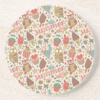 Summer Pattern With Ice Cream Coaster