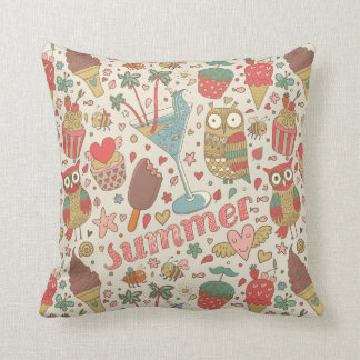 Summer Pattern With Ice Cream Cushion