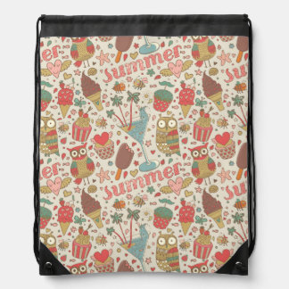 Summer Pattern With Ice Cream Drawstring Bag