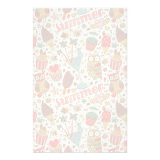 Summer Pattern With Ice Cream Personalised Stationery