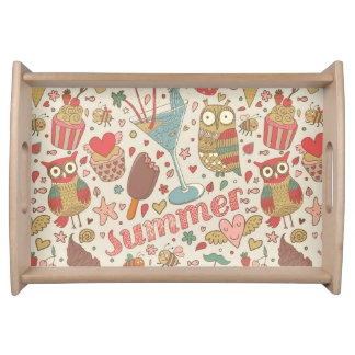Summer Pattern With Ice Cream Serving Tray