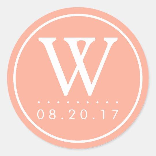 Summer Peach Monogram Wedding Date Classic Round Sticker