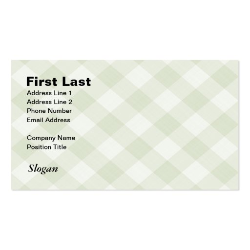 Summer Picnic Gingham Checkered Tablecloth: Green Business Card Template