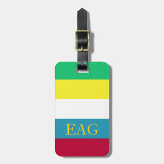 Summer Picnic Palette Stripe Monogram Luggage Tag