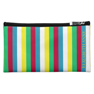 Summer Picnic Palette Stripe Personalized Cosmetic Bag