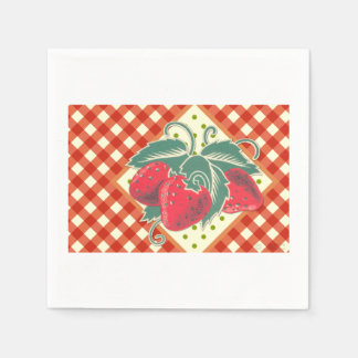 Summer Picnic Red White Checkered Tablecloth Disposable Napkin