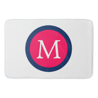 Summer Pink and Navy Blue Polka Dot Monogram Bath Mat