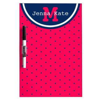 Summer Pink and Navy Blue Polka Dot Monogram Dry Erase Board