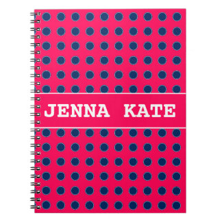 Summer Pink and Navy Blue Polka Dot Personalized Notebooks