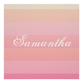 Summer Pink & Coral Gradient Colour Block Monogram Poster