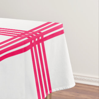 Summer Pink Four Stripe Plaid on White Tablecloth