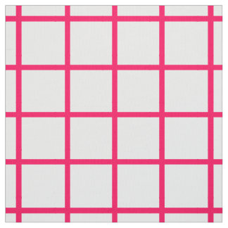 Summer Pink Lattice on White Fabric