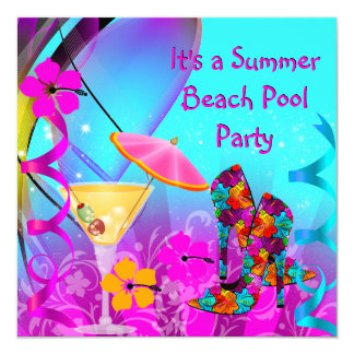 Summer Pink Teal Beach Cocktail Party 13 Cm X 13 Cm Square Invitation Card