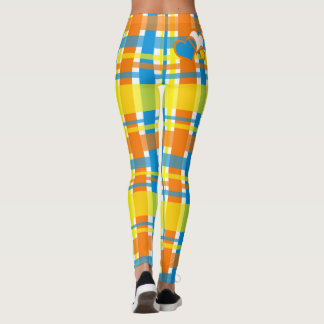 Summer Plaid with hearts Leggings