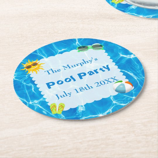 Summer Pool Party Drink Coasters