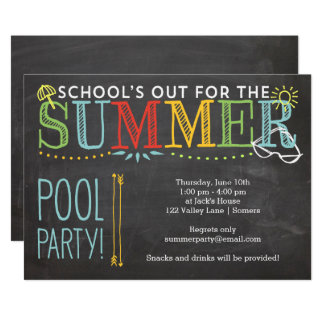 Summer Pool Party Invitation-School's Out Card