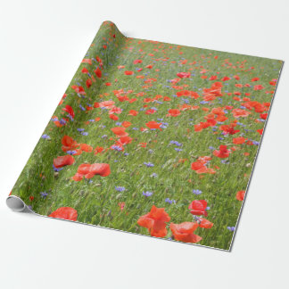 Summer poppies and cornflowers wrapping paper