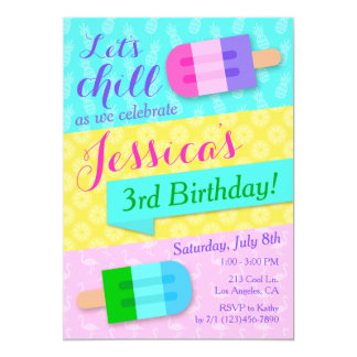 Summer Popsicle Girls Birthday Party Invitation