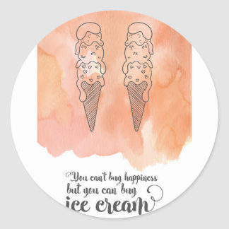Summer quote for any ice cream fan round sticker