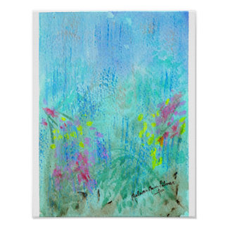 Summer Rain Abstract Watercolor Poster