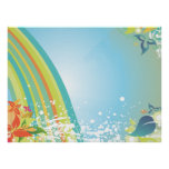 summer rainbow abstract flowers modern vector posters