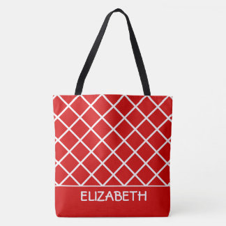Summer Red and White Lattice Personalized Tote Bag