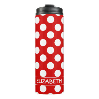Summer Red and White Polka Dot Personalized Thermal Tumbler