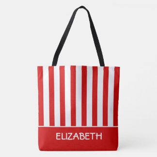 Summer Red and White Stripe Personalized Tote Bag