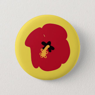 Summer Red Hibiscus 6 Cm Round Badge