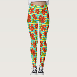Summer Red Hibiscus Seamless Pattern Leggings