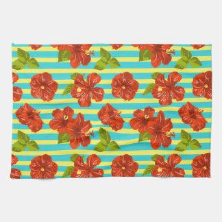 Summer Red Hibiscus Seamless Pattern Tea Towel