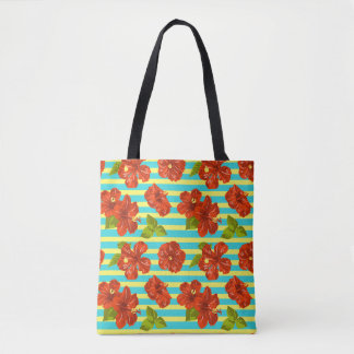 Summer Red Hibiscus Seamless Pattern Tote Bag