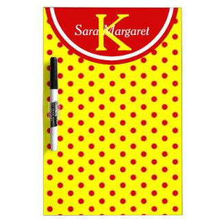 Summer Red on Sunshine Polka Dot Monogram Dry Erase Board