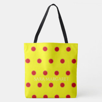 Summer Red Polka Dots on Sunshine Personalized Tote Bag
