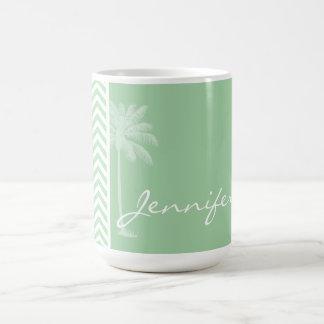 Summer Retro Celadon Chevron; zig zag Basic White Mug