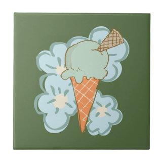 Summer Retro Ice Cream Cone on Kale Tile