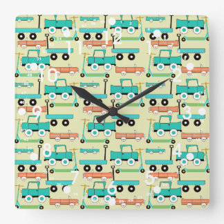 Summer Retro Wheels Scooters Cars Wagons Trucks Clock