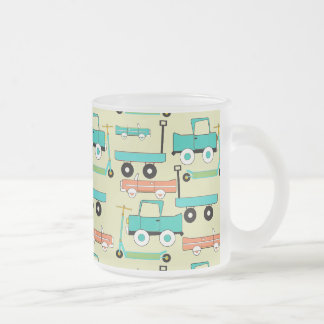 Summer Retro Wheels Scooters Cars Wagons Trucks Frosted Glass Mug