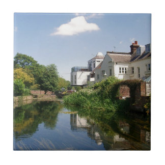 Summer River and Clouds Scenery Tile