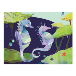 Summer Romance Sea Horses Postcard