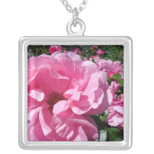 Summer Roses - Square Sterling Silver Necklace