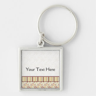 Summer Scattered Strawberry Swirl Pattern - Border Silver-Colored Square Key Ring