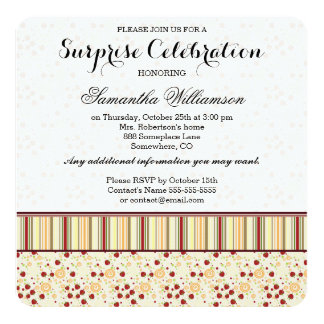 Summer Scattered Strawberry Swirl Pattern Initial Card