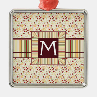 Summer Scattered Strawberry Swirl Pattern Initial Christmas Ornament
